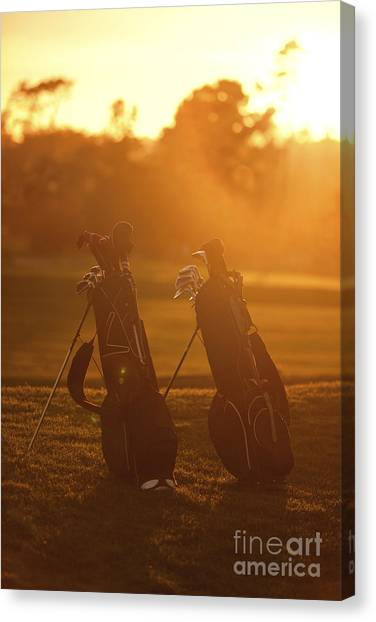 Golf Course Canvas Print - Golf Bags At Sunset by Diane Diederich