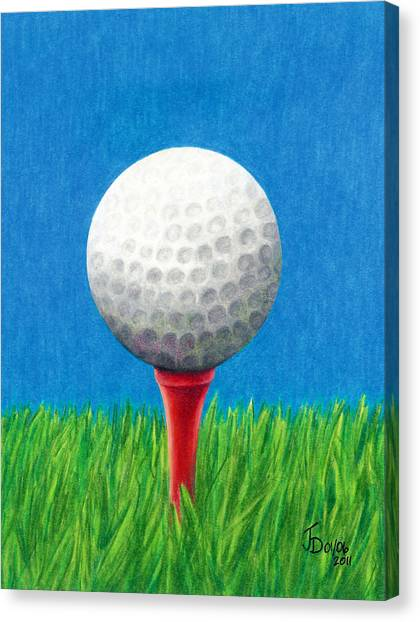 Golf Ball And Tee Canvas Print
