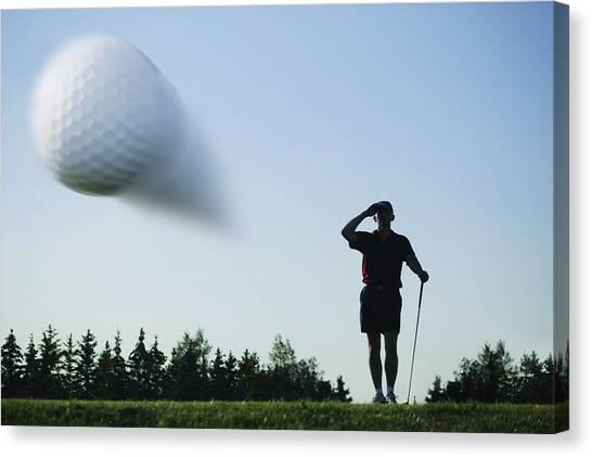 Fast Ball Canvas Print - Golf Ball In Flight by Kelly Redinger