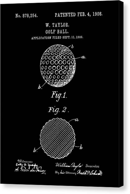 Hole In One Canvas Print - Golf Ball Patent 1906 - Black by Stephen Younts