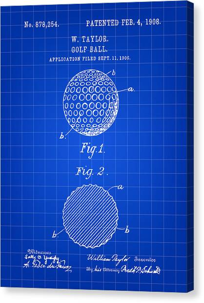 Hole In One Canvas Print - Golf Ball Patent 1906 - Blue by Stephen Younts