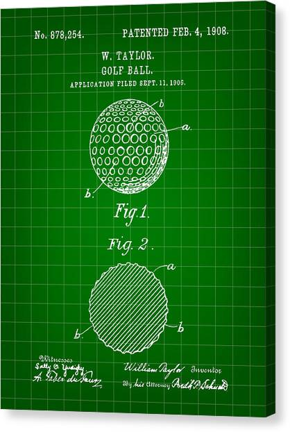 Hole In One Canvas Print - Golf Ball Patent 1906 - Green by Stephen Younts