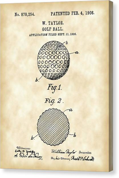 Hole In One Canvas Print - Golf Ball Patent 1906 - Parchment by Stephen Younts
