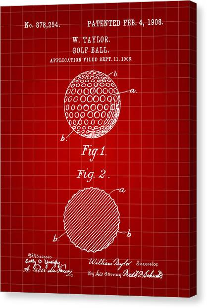 Hole In One Canvas Print - Golf Ball Patent 1906 - Red by Stephen Younts