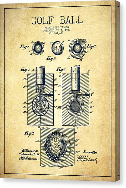 Pga Canvas Print - Golf Ball Patent Drawing From 1902 - Vintage by Aged Pixel