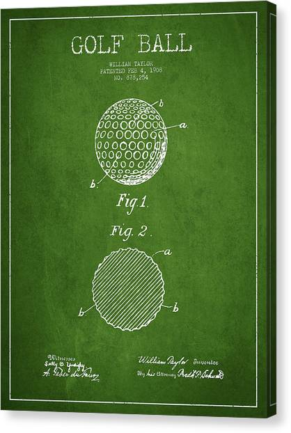 Pga Canvas Print - Golf Ball Patent Drawing From 1908 - Green by Aged Pixel