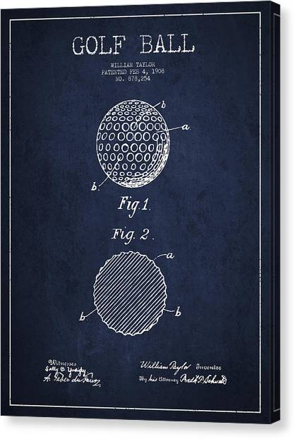 Pga Canvas Print - Golf Ball Patent Drawing From 1908 - Navy Blue by Aged Pixel