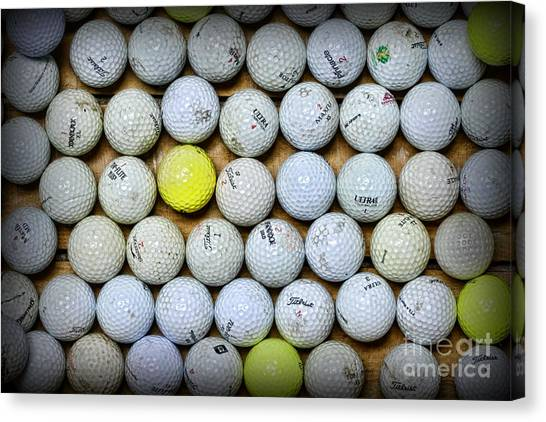 Hole In One Canvas Print - Golf Balls 2 by Paul Ward