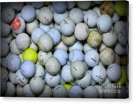 Hole In One Canvas Print - Golf Balls 4 by Paul Ward