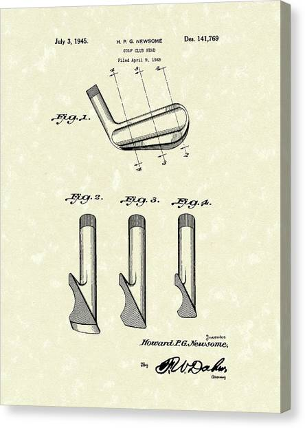 Canvas Print featuring the drawing Golf Club 1945 Patent Art by Prior Art Design