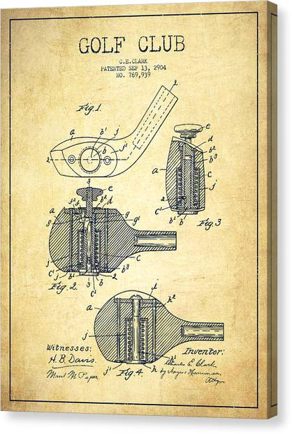 Pga Canvas Print - Golf Clubs Patent Drawing From 1904 - Vintage by Aged Pixel