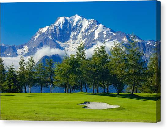 Golf Course In The Mountains - Riederalp Swiss Alps Switzerland Canvas Print
