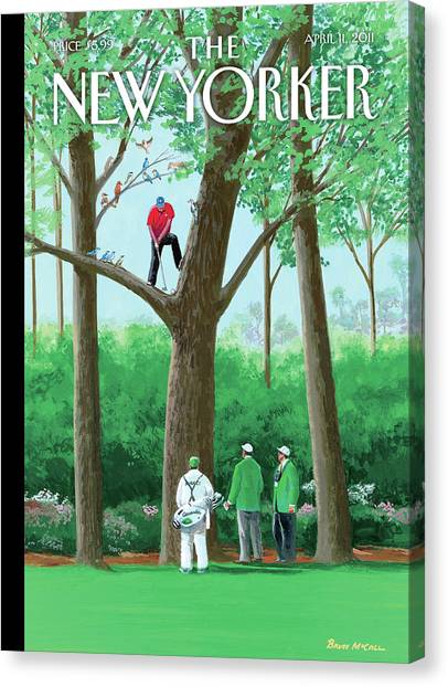 Golfer Making A Shot In A Tree While Different Canvas Print