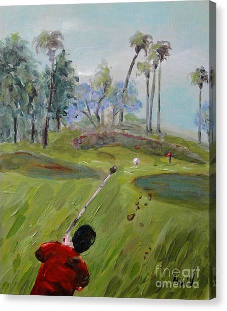 Canvas Print featuring the painting Golfing At Monarch by Maria Langgle