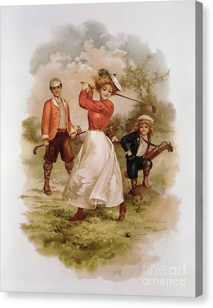 Golf Canvas Print - Golfing by Ellen Hattie Clapsaddle