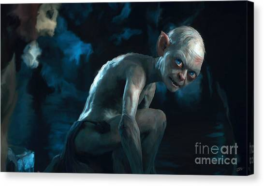 Tolkien Canvas Print - Gollum by Paul Tagliamonte