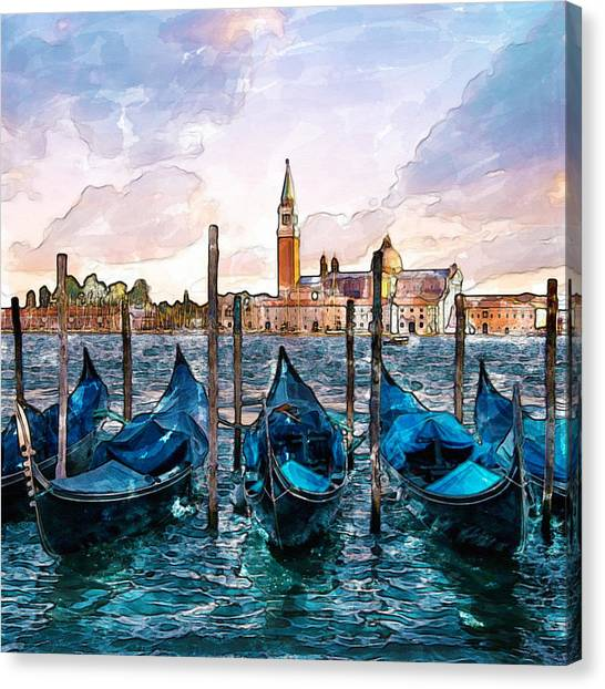 Pontoon Canvas Print - Gondolas In Venice Watercolor by Marian Voicu