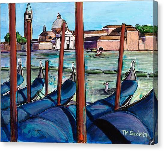 Canvas Print featuring the painting Gondolas by TM Gand
