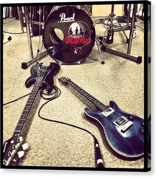 Bass Guitars Canvas Print - Good Band Practice Tonight! Gettin Keen by Krystofer Kot