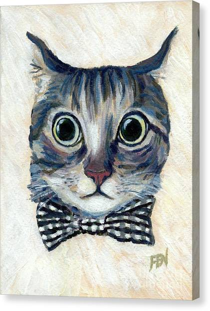 Good Boy Cat With A Checked Bowtie Canvas Print