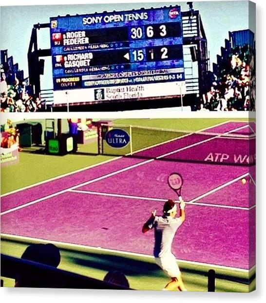 Tennis Canvas Print - Good Job R O G E R #keybiscane#miami by Hector Santos