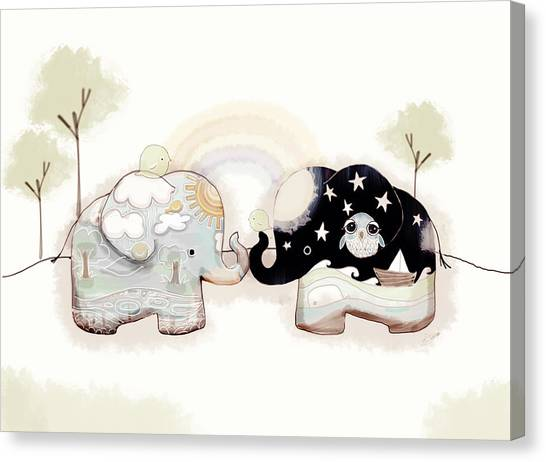 Karma Canvas Print - Good Karma Elephants by Karin Taylor
