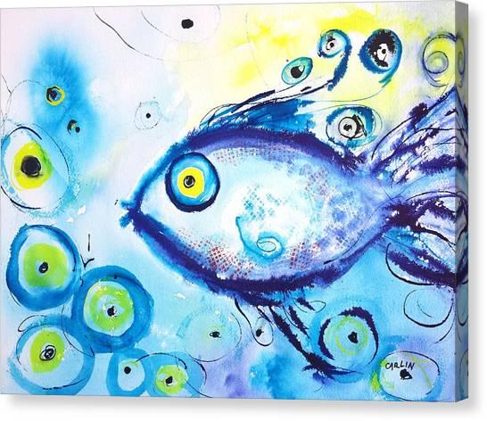 Fish Tanks Canvas Print - Good Luck Fish Abstract by Carlin Blahnik CarlinArtWatercolor