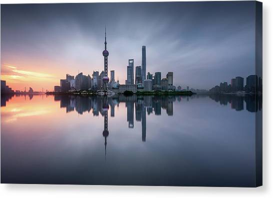 Shanghai Skyline Canvas Print - Good Morning Shanghai by Jes?s M. Garc?a