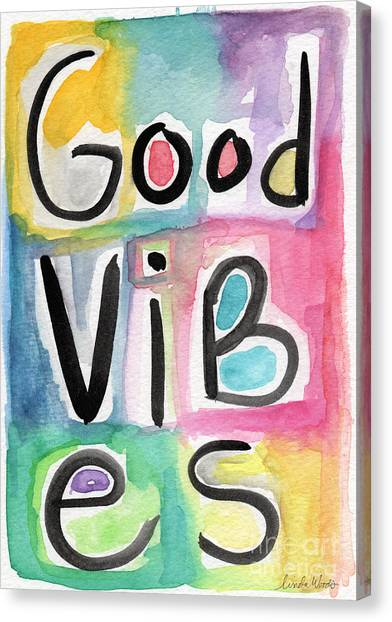 New Baby Canvas Print - Good Vibes by Linda Woods