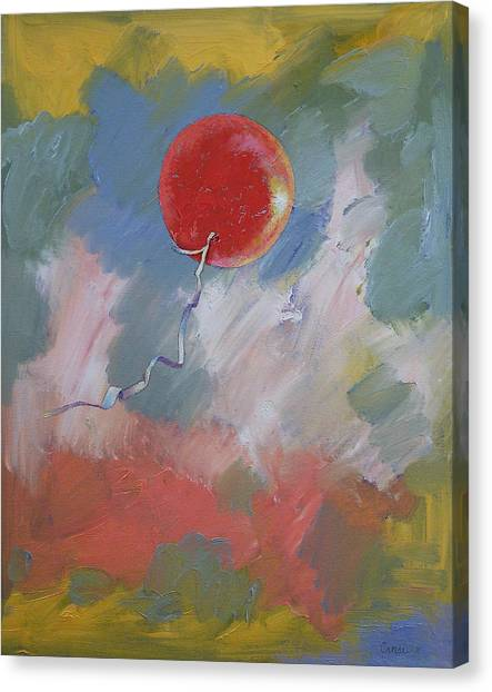 Happy Birthday Canvas Print - Goodbye Red Balloon by Michael Creese