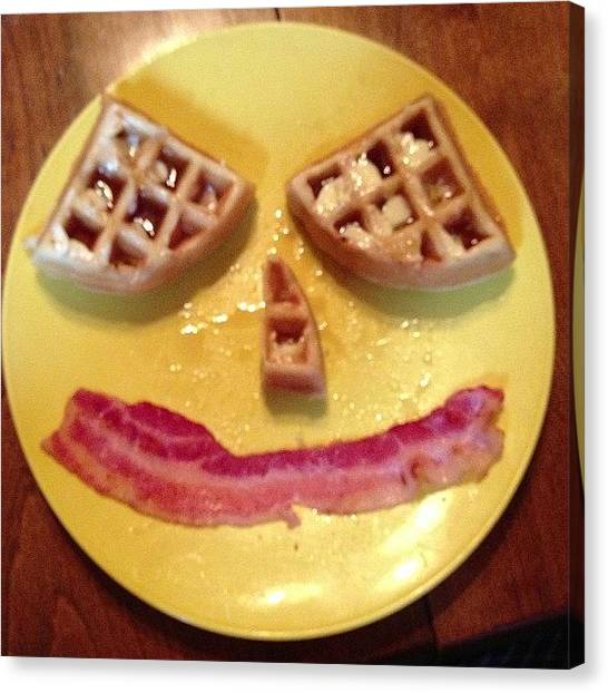 Bacon Canvas Print - #goodmorning We Have #waffles And by Zach Falle