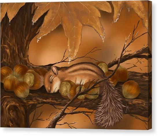 Squirrels Canvas Print - Goodnight Baby Squirrel by Veronica Minozzi