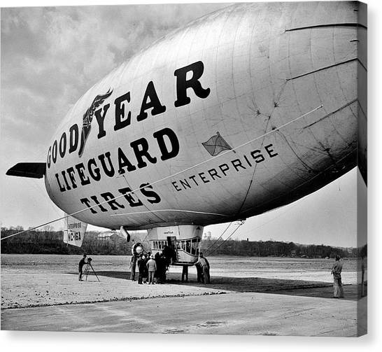 Blimps Canvas Print - Goodyear Blimp 1938 by Benjamin Yeager