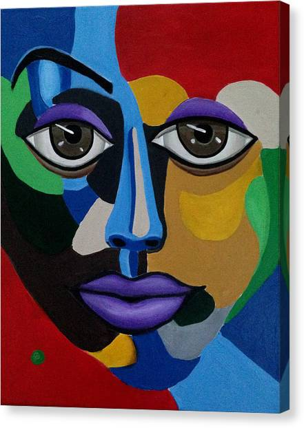 Google Me - Abstract Art Painting - Colorful Abstract Face - Ai P. Nilson Canvas Print