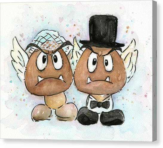Gaming Consoles Canvas Print - Goomba Bride And Groom by Olga Shvartsur