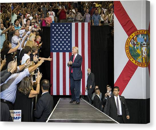 Gop Presidential Nominee Donald Trump Holds Rally In Jacksonville, Florida Canvas Print by Mark Wallheiser
