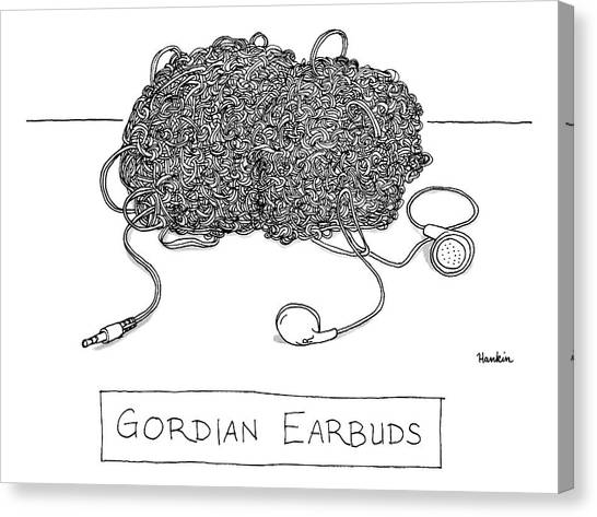 Knot Canvas Print - Gordian Earbuds by Charlie Hankin