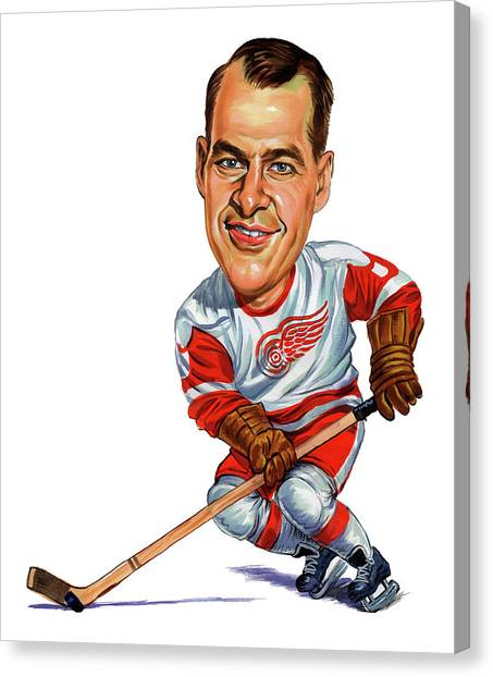 Hockey Players Canvas Print - Gordie Howe by Art