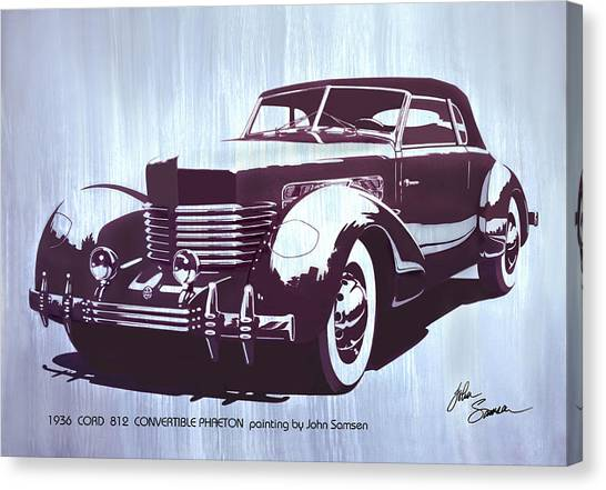 Presentations Canvas Print - Gordon Buehrig's Dream Car  1936 Cord   Convertible Classic Automotive Art Sketch Rendering         by John Samsen