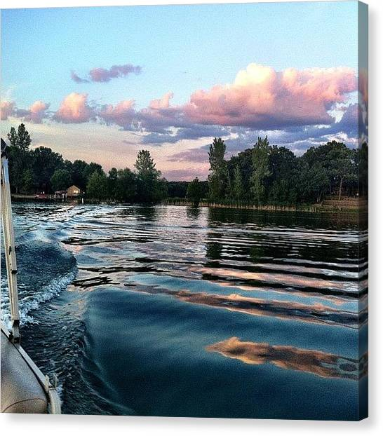 Pontoon Canvas Print - Gorgeous #boat #rides Tonight :) by Jill Bromenschenkel