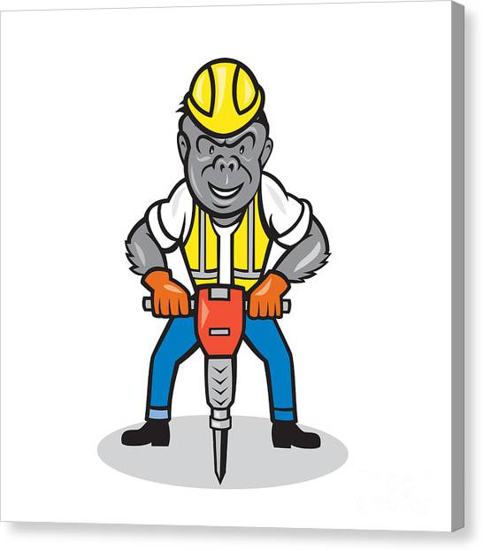 Jackhammers Canvas Print - Gorilla Construction Jackhammer Cartoon by Aloysius Patrimonio