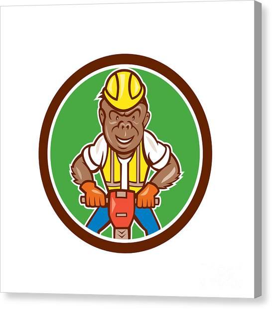 Jackhammers Canvas Print - Gorilla Construction Jackhammer Circle Cartoon by Aloysius Patrimonio