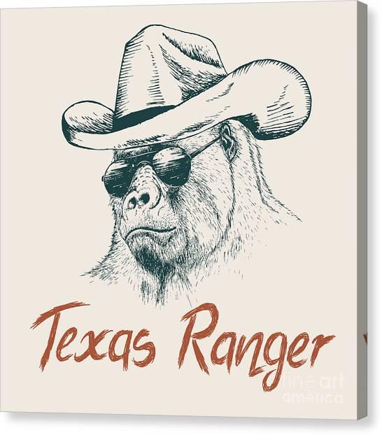 Cowboy Canvas Print - Gorilla Like A Texas Ranger Dressed In by Dimonika