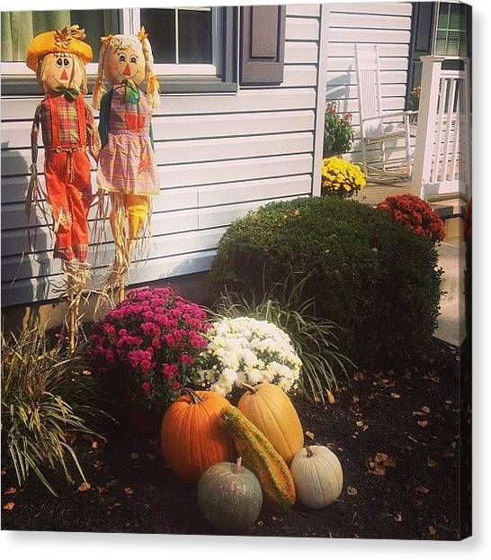 Scarecrows Canvas Print - Got The House All Ready For Fall Today! by Paige Smith