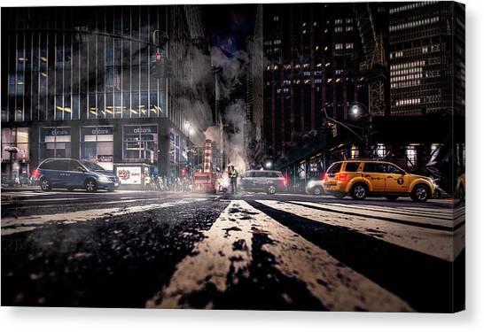 Police Officers Canvas Print - Gotham - Breaking Dawn by Jackson Carvalho
