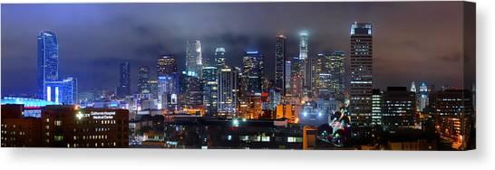 Los Angeles Skyline Canvas Print - Gotham City - Los Angeles Skyline Downtown At Night by Jon Holiday