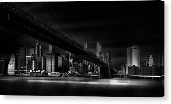 Brooklyn Bridge Canvas Print - Gotham City. by Peter Futo