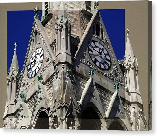 Gothic Church Clock Tower Spire Canvas Print