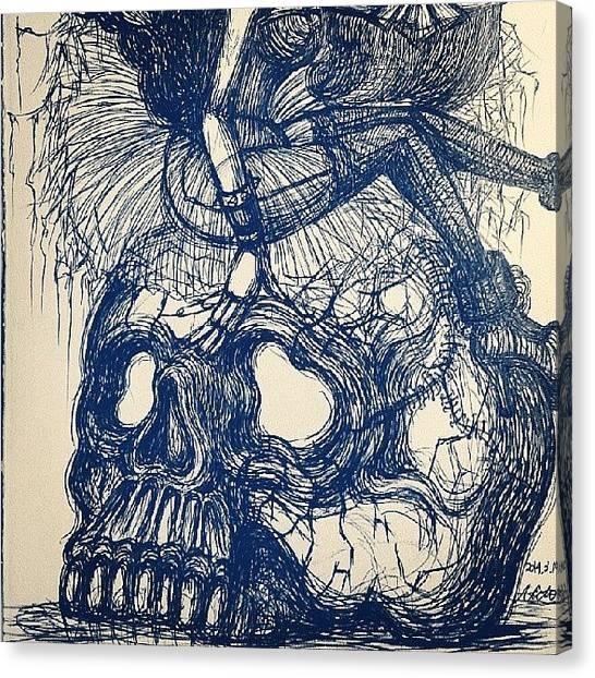 Art Nouveau Canvas Print - Skull by Akiko Okabe