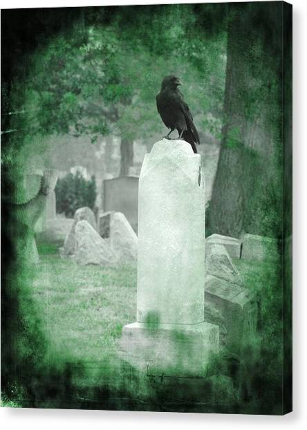 Ravens In Graveyard Canvas Print - Gothic Green by Gothicrow Images